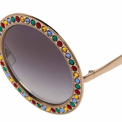 Dolce&Gabbana Gold Gradient Mambo Capri DG2170 Jewel Embellished Round Sunglasses 358289 - 3
