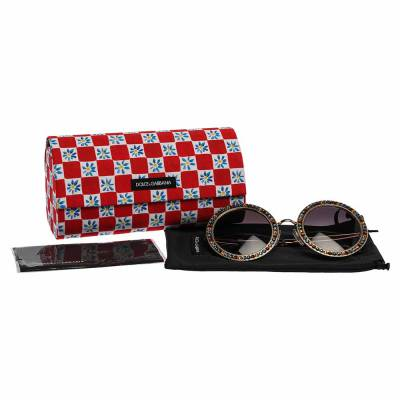 Dolce&Gabbana Gold Gradient Mambo Capri DG2170 Jewel Embellished Round Sunglasses 358289 - 6