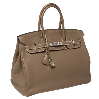 Hermes Etoupe Togo Leather Palladium Hardware Birkin 35 Bag 358353 - 2