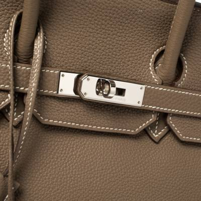 Hermes Etoupe Togo Leather Palladium Hardware Birkin 35 Bag 358353 - 5