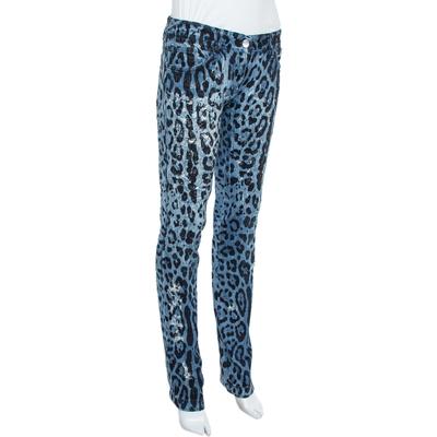 Dolce&Gabbana Blue Animal Print Dark Wash Straight Leg Jeans S 360067 - 1