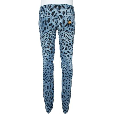 Dolce&Gabbana Blue Animal Print Dark Wash Straight Leg Jeans S 360067 - 2