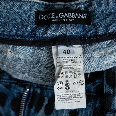 Dolce&Gabbana Blue Animal Print Dark Wash Straight Leg Jeans S 360067 - 4