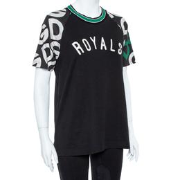 Dolce&Gabbana Black DG Mania Print Cotton Jersey Crew Neck T Shirt M 360063