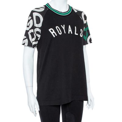 Dolce&Gabbana Black DG Mania Print Cotton Jersey Crew Neck T Shirt M 360063 - 1