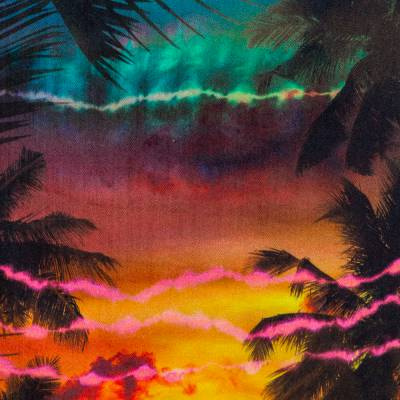 Balmain Black Sunset Printed Denim High Waist Skirt M 359810 - 3