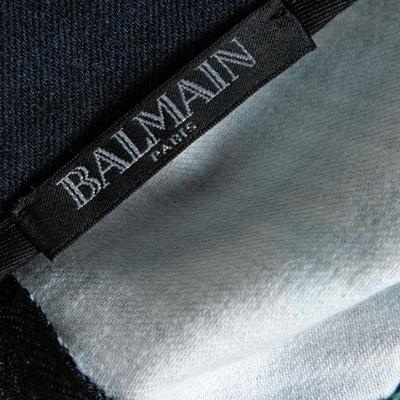 Balmain Black Sunset Printed Denim High Waist Skirt M 359810 - 4