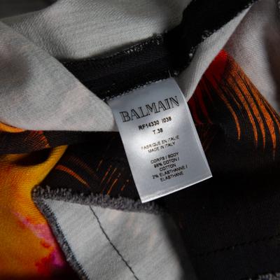 Balmain Black Sunset Printed Denim High Waist Skirt M 359810 - 5