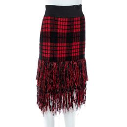 Balmain Red/Black Checkered Tweed Fringe Skirt M 359816