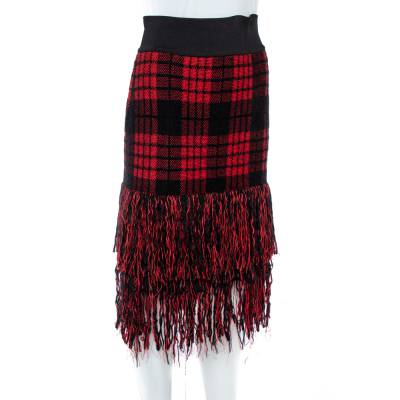 Balmain Red/Black Checkered Tweed Fringe Skirt M 359816 - 1