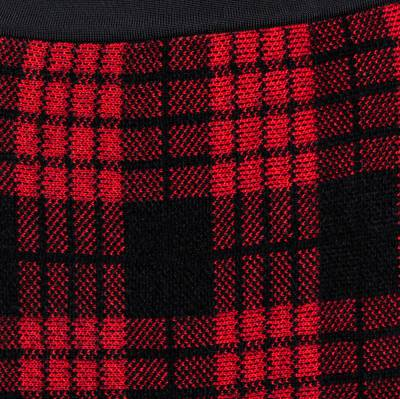 Balmain Red/Black Checkered Tweed Fringe Skirt M 359816 - 3