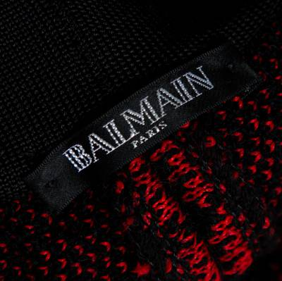 Balmain Red/Black Checkered Tweed Fringe Skirt M 359816 - 4
