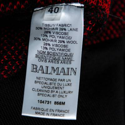 Balmain Red/Black Checkered Tweed Fringe Skirt M 359816 - 5
