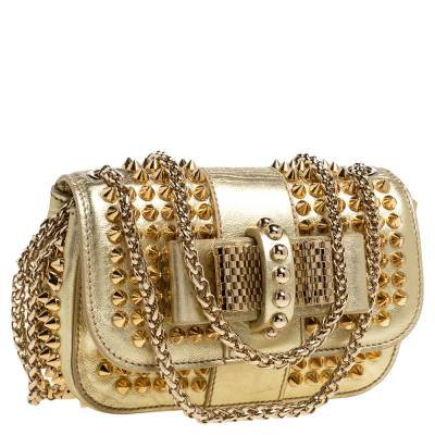 Christian Louboutin Gold Leather Mini Spiked Sweet Charity Crossbody Bag 359928 - 2