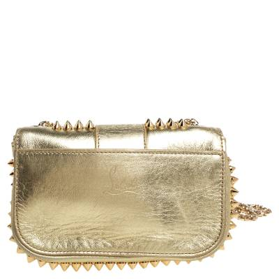 Christian Louboutin Gold Leather Mini Spiked Sweet Charity Crossbody Bag 359928 - 3