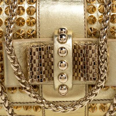 Christian Louboutin Gold Leather Mini Spiked Sweet Charity Crossbody Bag 359928 - 4
