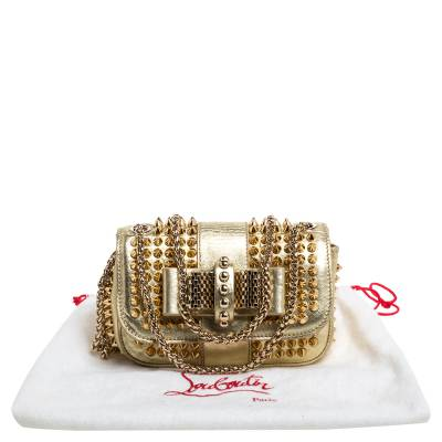 Christian Louboutin Gold Leather Mini Spiked Sweet Charity Crossbody Bag 359928 - 8