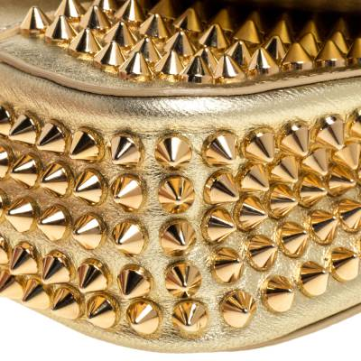 Christian Louboutin Gold Leather Mini Spiked Sweet Charity Crossbody Bag 359928 - 9