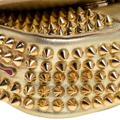 Christian Louboutin Gold Leather Mini Spiked Sweet Charity Crossbody Bag 359928 - 10