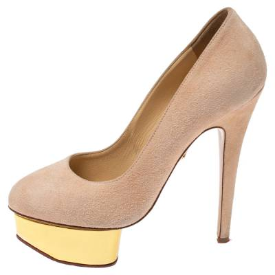 Charlotte Olympia Light Beige Suede Dolly Platform Pump Size 35.5 355221 - 1