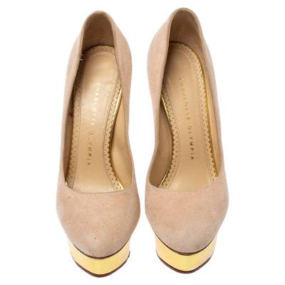 Charlotte Olympia Light Beige Suede Dolly Platform Pump Size 35.5 355221 - 2