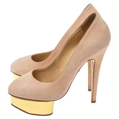 Charlotte Olympia Light Beige Suede Dolly Platform Pump Size 35.5 355221 - 3