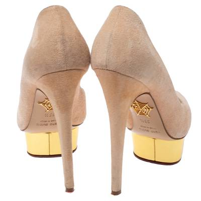 Charlotte Olympia Light Beige Suede Dolly Platform Pump Size 35.5 355221 - 4