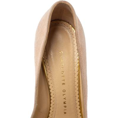 Charlotte Olympia Light Beige Suede Dolly Platform Pump Size 35.5 355221 - 6