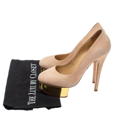Charlotte Olympia Light Beige Suede Dolly Platform Pump Size 35.5 355221 - 7