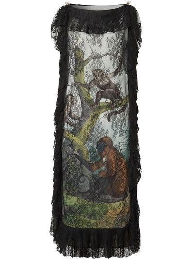 Burberry платье-трапеция с принтом 4564455 - 1