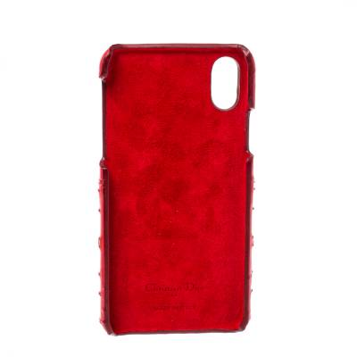 Dior Red Cannage Patent Leather Lady Dior Iphone X/XS Case 360046 - 2