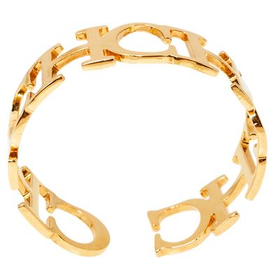 Ch Carolina Herrera Logo Gold Tone Open Cuff Bracelet 360118 - 2