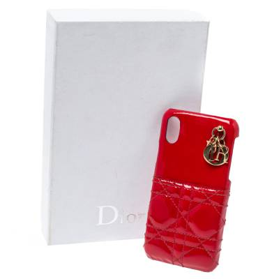 Dior Red Cannage Patent Leather Lady Dior Iphone X/XS Case 360046 - 8