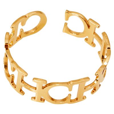 Ch Carolina Herrera Logo Gold Tone Open Cuff Bracelet 360118 - 3