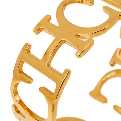 Ch Carolina Herrera Logo Gold Tone Open Cuff Bracelet 360118 - 4