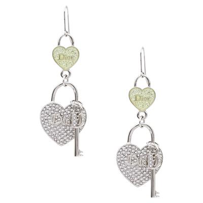Dior Heart lock & Key Drop Motif Crystal Silver Tone Hook Earrings 360072 - 2