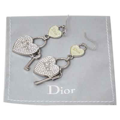 Dior Heart lock & Key Drop Motif Crystal Silver Tone Hook Earrings 360072 - 4
