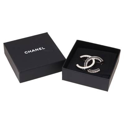 Chanel CC Crystal Embellished Silver Tone Pin Brooch 360025 - 3