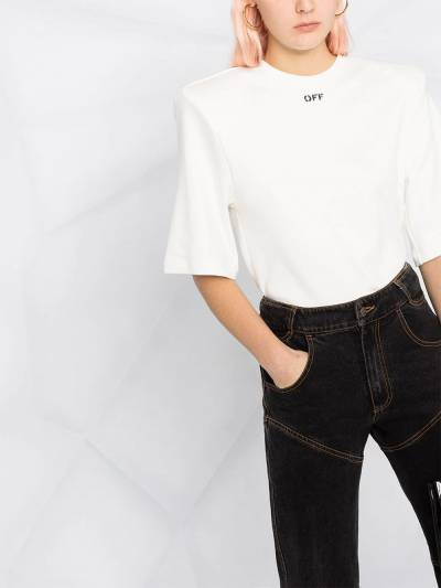 Off-White SHOULDER PADS T-SHIRT WHITE BLACK OWAD142R21FAB0010110 - 5