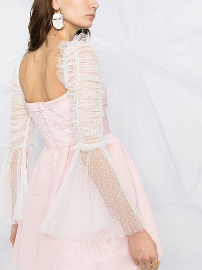 Self-Portrait платье мини с полупрозрачными рукавами RS21043 - 5