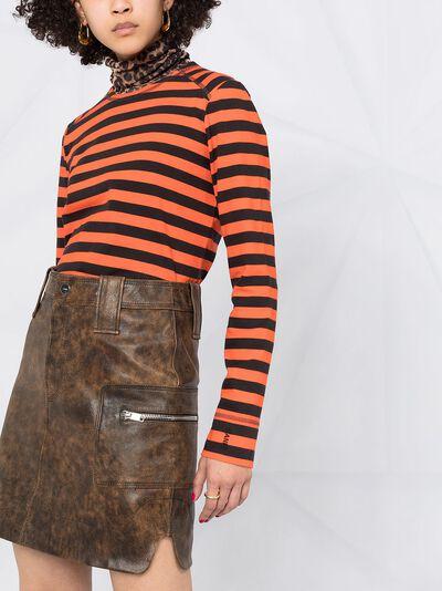 Ganni washed leather mini skirt F5612 - 5