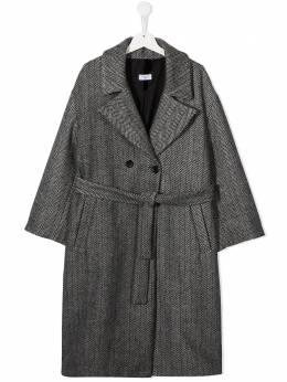 Monnalisa пальто с узором в елочку 1761126755