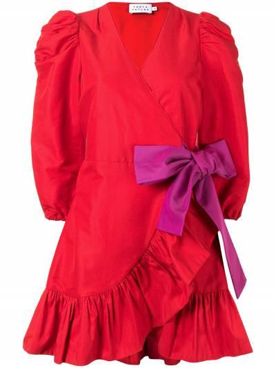 Tanya Taylor платье мини с пышными рукавами и бантом H20D110188 - 1