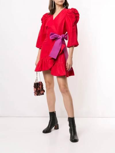 Tanya Taylor платье мини с пышными рукавами и бантом H20D110188 - 2
