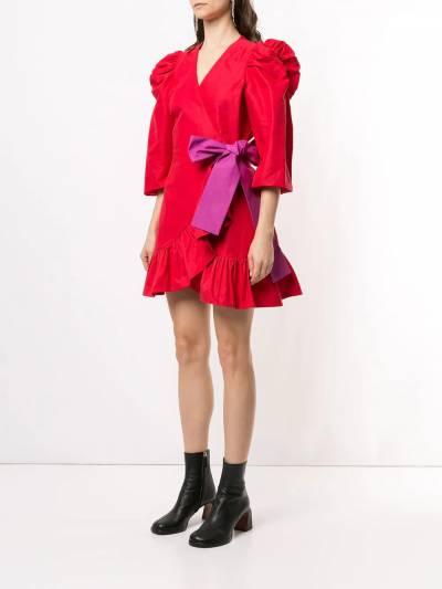 Tanya Taylor платье мини с пышными рукавами и бантом H20D110188 - 3