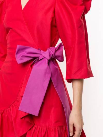 Tanya Taylor платье мини с пышными рукавами и бантом H20D110188 - 5