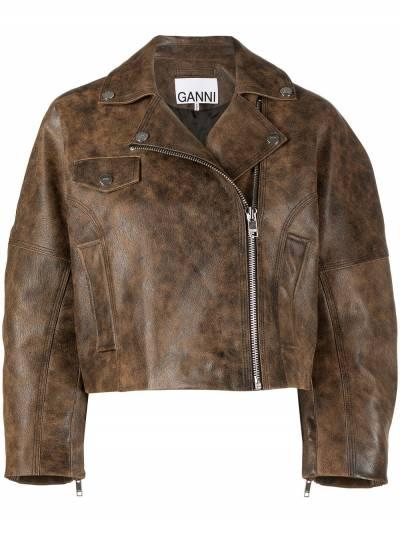 Ganni washed leather short jacket F56116105 - 1