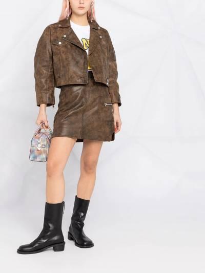 Ganni washed leather short jacket F56116105 - 2