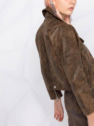 Ganni washed leather short jacket F56116105 - 3