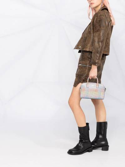 Ganni washed leather short jacket F56116105 - 4